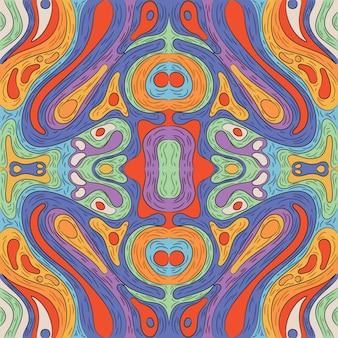 Ręcznie rysowane groovy psychodeliczny wzór