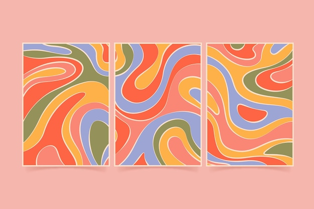 Ręcznie rysowane groovy psychodeliczny zestaw okładek