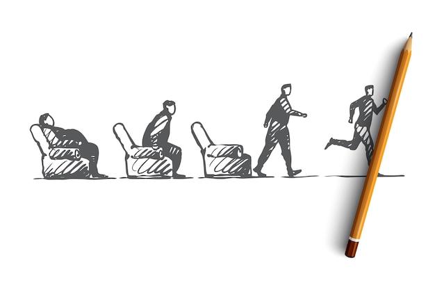Ręcznie rysowane gruby leniwy wstać i uruchomić szkic koncepcyjny