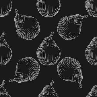 Ręcznie rysowane gruszki wzór na tablicy. tapeta z owocami gruszki. grawerowanie tło w stylu vintage. projekt na papier pakowy, nadruk na tekstyliach. ilustracja wektorowa
