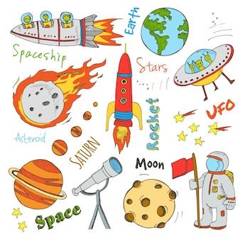 Ręcznie rysowane gryzmoły astronomii. gwiazdy, planeta, transport kosmiczny wykorzystywany do edukacji szkolnej i dekoracji dokumentów. ilustracja.