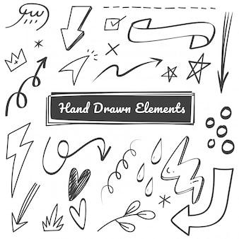 Ręcznie rysowane gryzmoły elementu