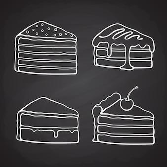 Ręcznie rysowane gryzmoły kawałek ciasta z kremem wektor ilustracja zestaw deserów