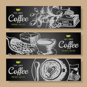 Ręcznie rysowane gryzmoły zestaw banner kawy