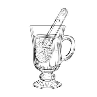 Ręcznie rysowane grzane wino na białym tle. szkic rysunek grzane wino