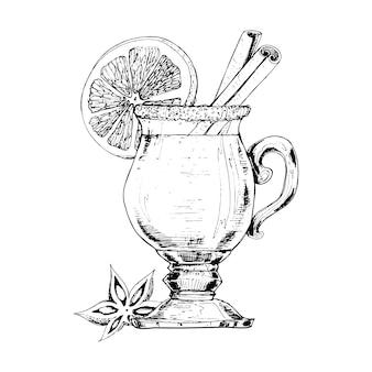 Ręcznie rysowane grzane wino