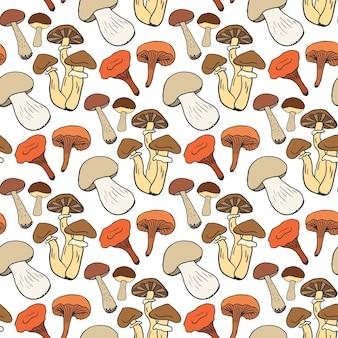 Ręcznie rysowane grzybów wzór w kolorze. doodle szkic tło z jadalne grzyby. zdrowe jedzenie