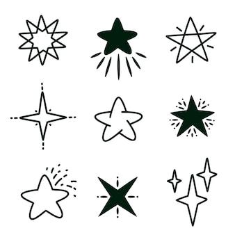 Ręcznie rysowane gwiazda doodle linia na białym tle zestaw