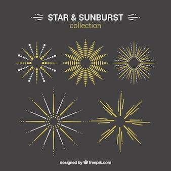 Ręcznie rysowane gwiazda i sunburst elementy dekoracyjne