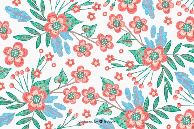 Ręcznie rysowane hafty kwiatowy tło