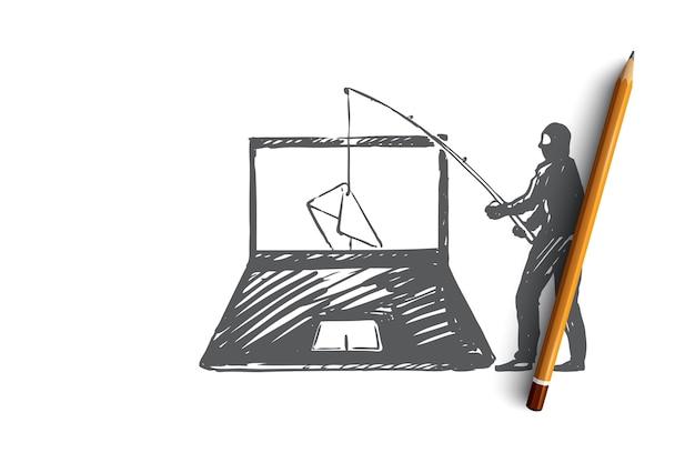Ręcznie rysowane haker przerywa pocztę na szkicu koncepcji komputera