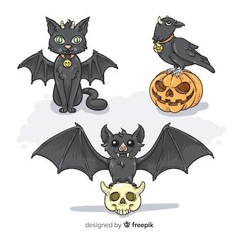Ręcznie rysowane halloween charakter kolekcja