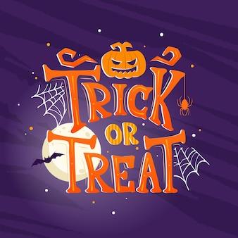 Ręcznie rysowane halloween cukierek albo psikus tło. horror halloween plakat z ręcznie napisami i elementami dekoracji. zaproszenie na przyjęcie, karta lub baner z ręcznie rysowaną kaligrafią
