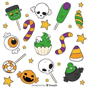 Ręcznie rysowane halloween cukierki kolekcja