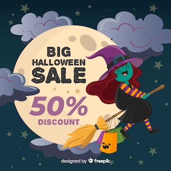 Ręcznie rysowane halloween czarownica sprzedaż