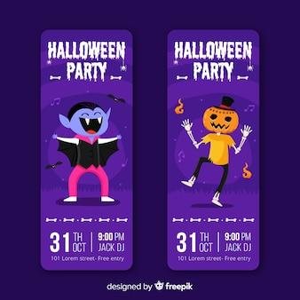 Ręcznie rysowane halloween fioletowe bilety