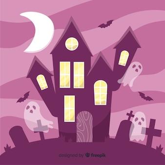Ręcznie rysowane halloween hauntedhouse