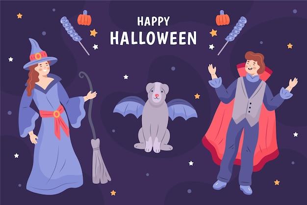 Ręcznie rysowane halloween ilustrowane tło