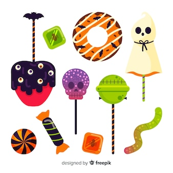 Ręcznie rysowane halloween kolekcja cukierków na białej powierzchni