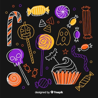 Ręcznie rysowane halloween kolekcja cukierków w negatywie