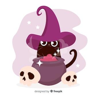 Ręcznie rysowane halloween kot i czarownica garnek