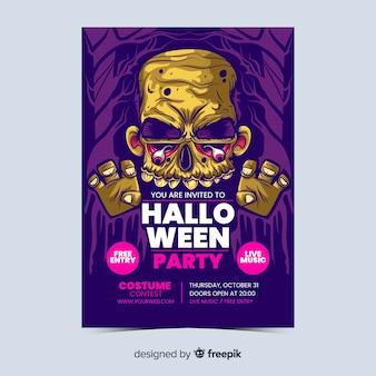 Ręcznie rysowane halloween party plakat