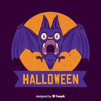 Ręcznie rysowane halloween przestraszony fioletowy nietoperz