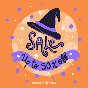 Ręcznie rysowane halloween sprzedaż kapelusz czarownicy