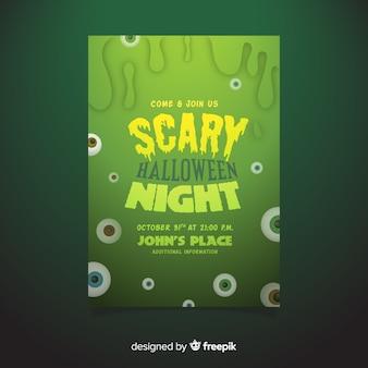 Ręcznie rysowane halloween straszny noc party plakat szablon