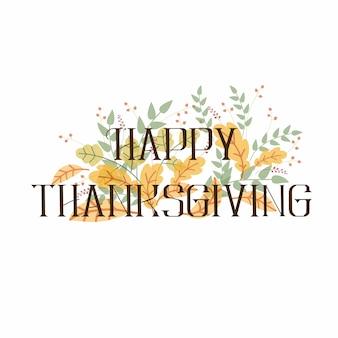 Ręcznie rysowane happy thanksgiving napis typografia plakat.