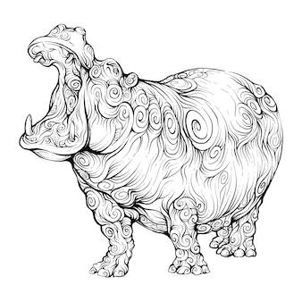 Ręcznie rysowane hipopotam