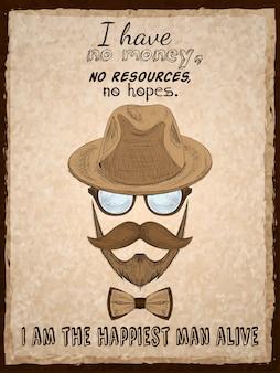 Ręcznie rysowane hipster plakat