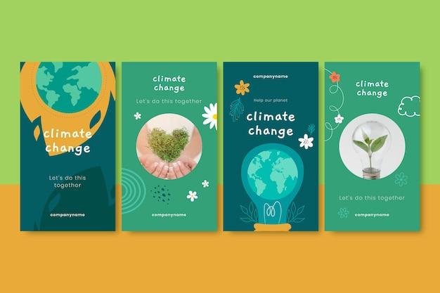 Ręcznie rysowane historie na instagramie dotyczące zmian klimatu