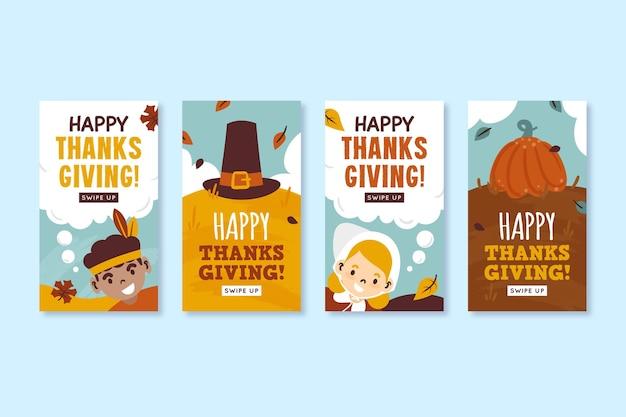 Ręcznie rysowane historie na instagramie dziękczynienia