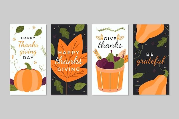 Ręcznie rysowane historie na instagramie z okazji święta dziękczynienia