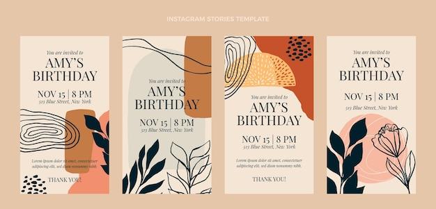 Ręcznie rysowane historie urodzinowe boho ig