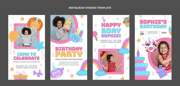 Ręcznie rysowane historie urodzinowe na instagramie