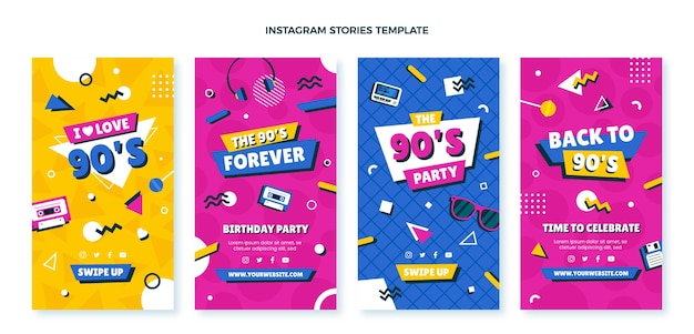 Ręcznie rysowane historie urodzinowe z lat 90. na instagramie