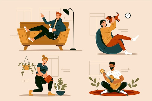 Ręcznie rysowane hygge ilustracja styl życia z ludźmi