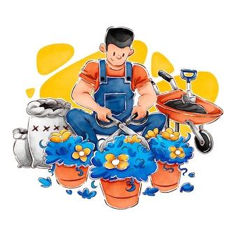 Ręcznie rysowane hygge ilustracja z męskim ogrodnikiem