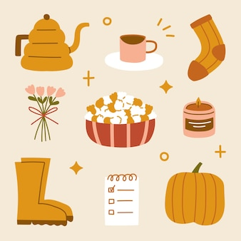 Ręcznie rysowane hygge jesienne domowe przytulne elementy styl skandynawski dzbanek do mokki skarpetki do kawy bukiet popcorn uwaga buty i naklejki z dyni