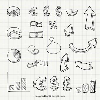 Ręcznie rysowane ikony biznesu i symbole