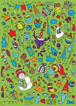 Ręcznie rysowane ikony bożego narodzenia zestaw doodle