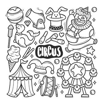 Ręcznie rysowane ikony cyrk kolorowanki doodle