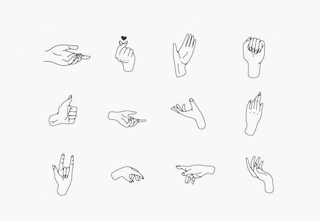 Ręcznie rysowane ikony dłoni w prostym minimalistycznym stylu sztuki linii.