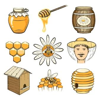 Ręcznie rysowane ikony pszczelarstwa, miodu i pszczół. jedzenie słodkie, owad i komórka, beczka i plaster miodu
