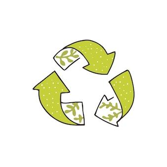 Ręcznie rysowane ikony recyklingu, zielone strzałki drzewa. ekologiczny szkic pieczęć z liśćmi. symbol wektor.
