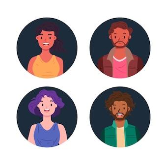 Ręcznie rysowane ikony różnych ludzi