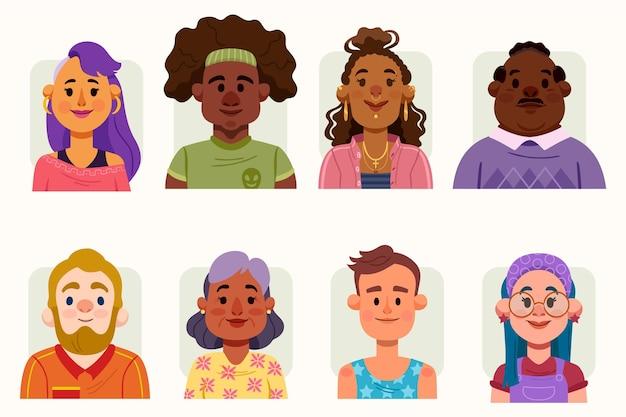Ręcznie rysowane ikony różnych profili