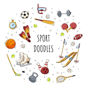 Ręcznie rysowane ikony sprzętu sportowego w stylu doodle